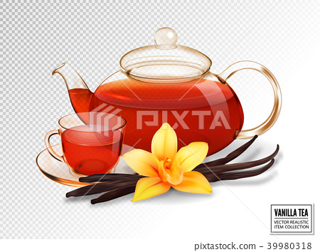 Composition of a glass cup and tea pot with tea 39980318