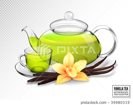Composition of a glass cup and tea pot with green 39980319