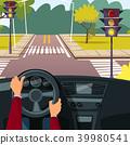 Vector cartoon man hands on car wheel 39980541