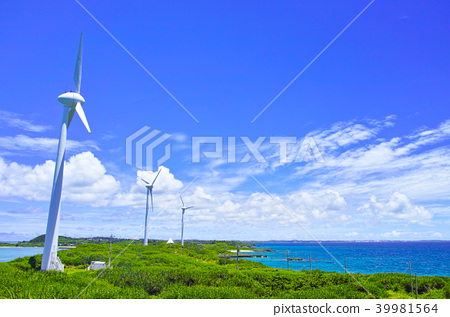 宮古島的宮古島。從Nishi-Pei Anan的Ikeda Ohashi天文台看到的風力發電場景 39981564