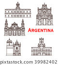 Argentina landmarks buildings vector line icons 39982402