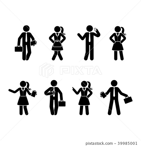 Stick figure office workers set 39985001