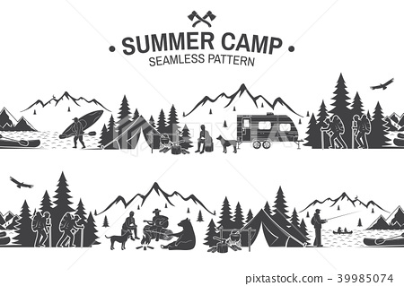 Summer camp seamless pattern. Vector illustration. 39985074