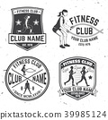 Set of fitness club badges. Vector. Concept for shirt or print, stamp, patch or tee 39985124