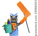 Cat in apron with mop doing household chores. Isolated on white 39986003