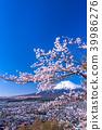 """""""山梨縣""""富士山和櫻花盛開 39986276"""