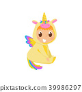 Sweet baby in yellow unicorn costume with wings sitting on the floor vector Illustration on a white 39986297