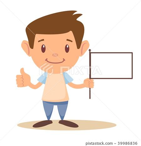 Child holding blank flag 39986836