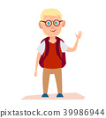 Glad Albino Boy with Glasses and Knapsack on Back 39986944