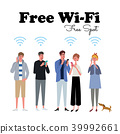 免費Wi-Fi智能手機人圖 39992661