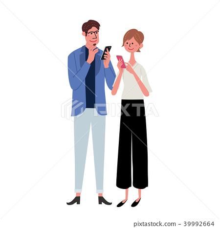 Smartphone年轻夫妇例证 39992664