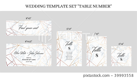 Wedding Template Set Table Number Cards Stock Illustration