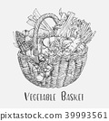 Sketch of tomato and corn, broccoli in basket 39993561