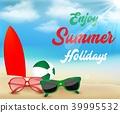 Summer beach holiday background. Surfboard, beach  39995532