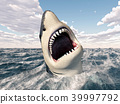 Great white shark in the stormy sea 39997792