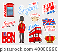 British vintage stickers, Crown and Queen, teapot with tea, bus and royal guard, London. Badges 40000990