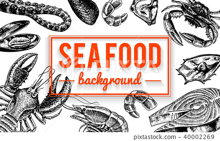 Seafood background. Crustaceans, shrimp, lobster or crayfish, crab with claws. River and lake or sea 40002269