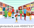 People family shopping in supermarket vector cartoon illustration 40007337
