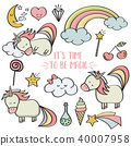 Doodle items collection with unicorns and  magical 40007958