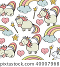 doodle seamless pattern with unicorns and  magical 40007968