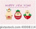 new year's card, vector, vectors 40008114