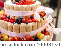 Wedding cake with berries. Bride and groom cut sweet cake on banquet in restaurant. 40008150