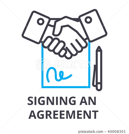 signing an agreement thin line icon, sign, symbol, illustation, linear concept, vector  40008301