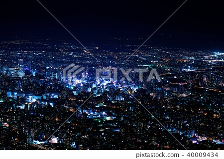 Superb view of the New Japan three major night view - Stock Photo