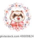 Cute ferret. Watercolor illustration 40009824