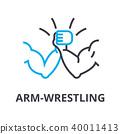 arm wrestling thin line icon, sign, symbol, illustation, linear concept, vector  40011413