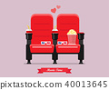 Two cinema seats with popcorn drinks and glasses 40013645