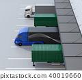 電動卡車的旁邊圖像在配給中心卡車終端前面的 40019660