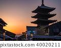 京都京都府八坂塔·日落 40020211