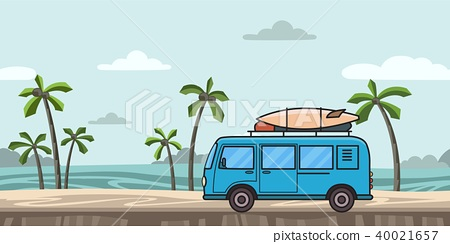 Blue minivan with surfboard and luggage on colorful seascape background with palm-trees and sea 40021657