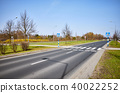 Pedestrian crossing with zebra and road signs 40022252