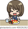 Female office worker _ food _ smile 40026262