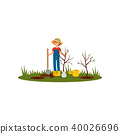 Happy woman planting tree in garden. Young armer in blue overall, red t-shirt, rubber boots and 40026696