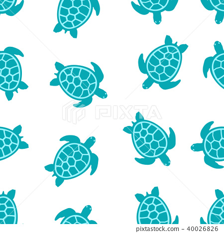 pattern with turquoise turtles 40026826