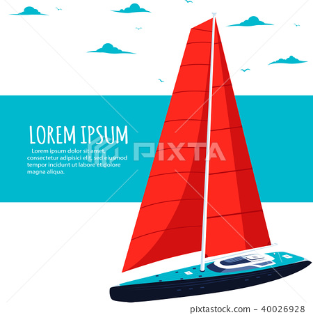 Yacht club flyer design with sail boat 40026928