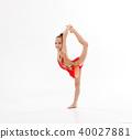 girl gymnast doing sports in rhythmic gymnastics on white backgr 40027881