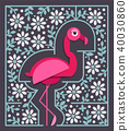 Pink flamingo with flowers in paper cut style 40030860