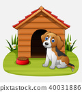 Cute dog sitting in front of a kennel in a garden 40031886