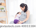 Pregnant mother breast feeding her daughter  40033384
