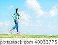 달리기하는 여성 40033775