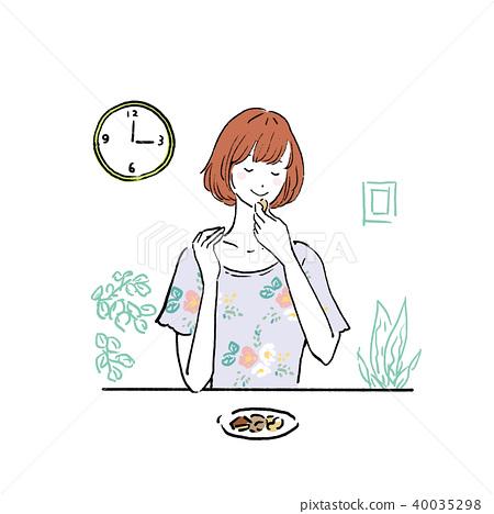 女人吃堅果 40035298