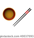 Pair of black wooden chopsticks with red lines and bowl with soy sauce isolated on white background. 40037093