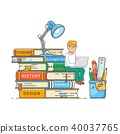 Book readers club, self education concept. Boy sitting on a stack of big books.Flat vector 40037765