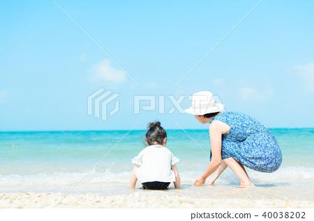 여름 어린이 바다 40038202