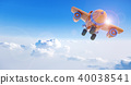 Cartoon airplane flying above clouds, 3D rendering 40038541
