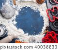Baking flour frame on dark blue with tools 40038833